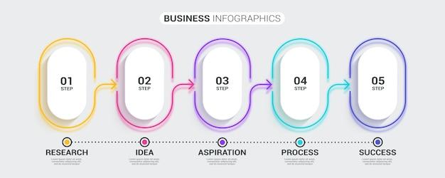 Plantilla de infografía de línea fina 3d abstracto de neón con 5 pasos.
