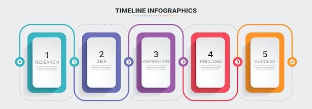 Plantilla de infografía de línea fina infografía 3d abstracto con 5 pasos.