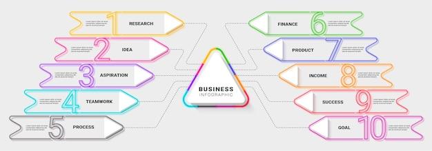 Plantilla de infografía de línea fina de neón moderna para el éxito