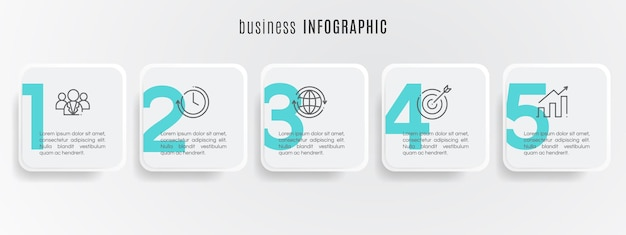 Plantilla de infografía de línea de tiempo de círculo moderno 5 pasos