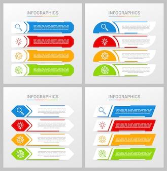 Plantilla de infografía de línea de tiempo colorida con 4 pasos sobre fondo gris