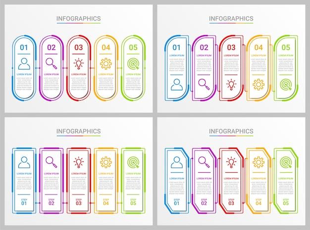 Plantilla de infografía de línea de tiempo colorida con 5 pasos sobre fondo gris