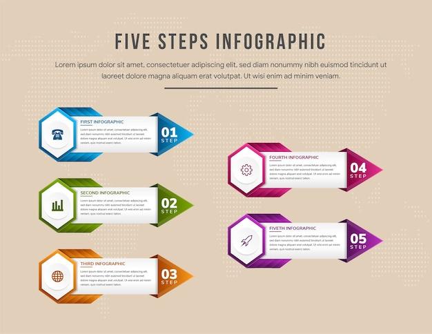 Plantilla de infografía de línea de tiempo colorida con flujo de trabajo de diagrama de flujo de flechas o hexágono de infografía de proceso con cinco pasos