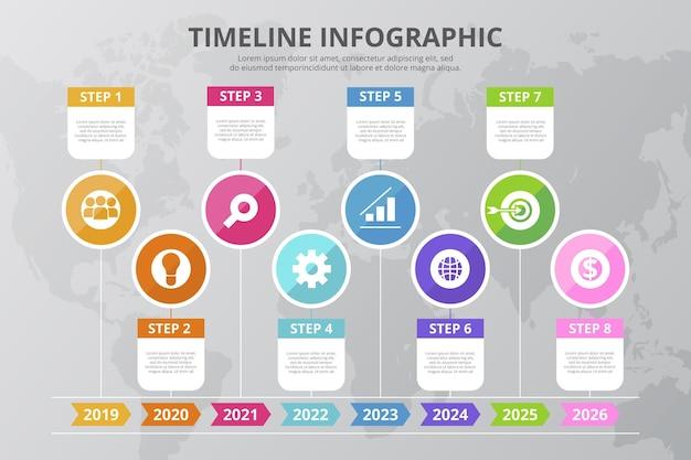 Plantilla de infografía de línea de tiempo colorida plana