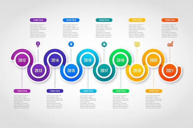 Plantilla de infografía de línea de tiempo degradada