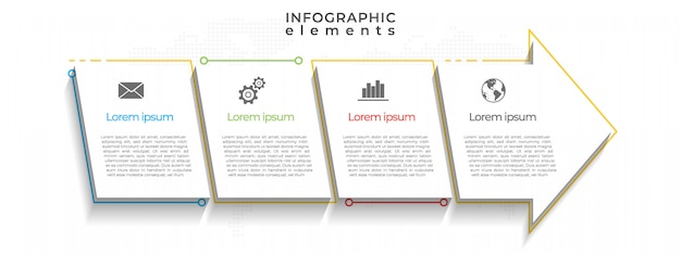 Plantilla de infografía de línea de tiempo de flechas, 4 opciones.