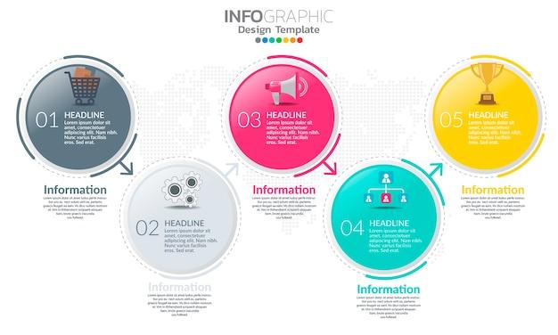 Plantilla de infografía de línea de tiempo con flechas y opciones