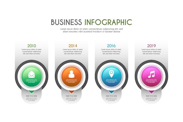 Plantilla de infografía de línea de tiempo gradiente