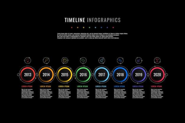 Plantilla de infografía de línea de tiempo horizontal con indicación de año de elementos redondos y cuadros de texto