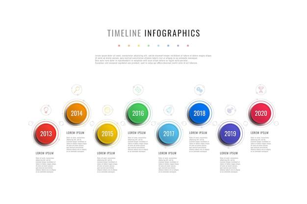 Plantilla de infografía de línea de tiempo horizontal con indicadores de año de elementos redondos y cuadros de texto