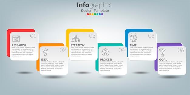 Plantilla de infografía línea de tiempo con iconos en concepto de éxito.
