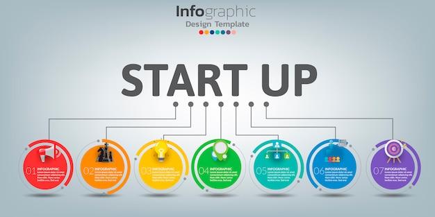 Plantilla de infografía línea de tiempo con iconos en concepto de inicio.