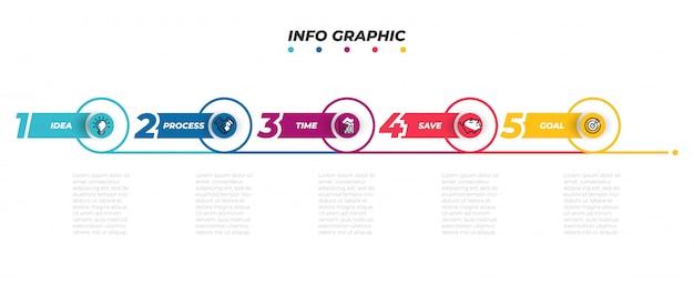 Plantilla de infografía línea de tiempo con los iconos de marketing.