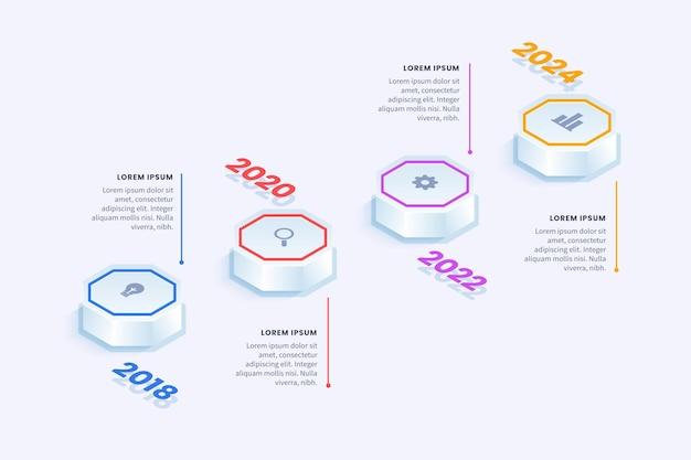 Plantilla de infografía de línea de tiempo isométrica