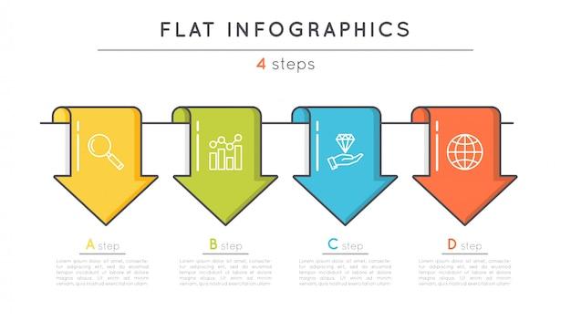Plantilla de infografía de línea de tiempo de pasos planos.