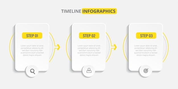 Plantilla de infografía de línea de tiempo plana con iconos