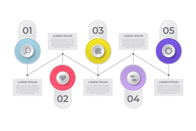 Plantilla de infografía de línea de tiempo plana