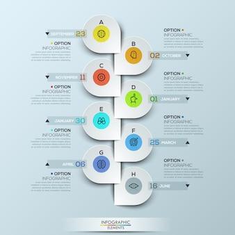 Plantilla de infografía con línea de tiempo vertical y 8 insignias de íconos conectados