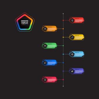 Plantilla de infografía de línea de tiempo vertical de 8 pasos con pentágonos y elementos poligonales