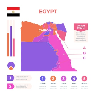 Plantilla de infografía de mapa de egipto dibujado a mano