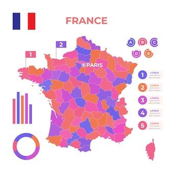 Plantilla de infografía de mapa de francia dibujado a mano