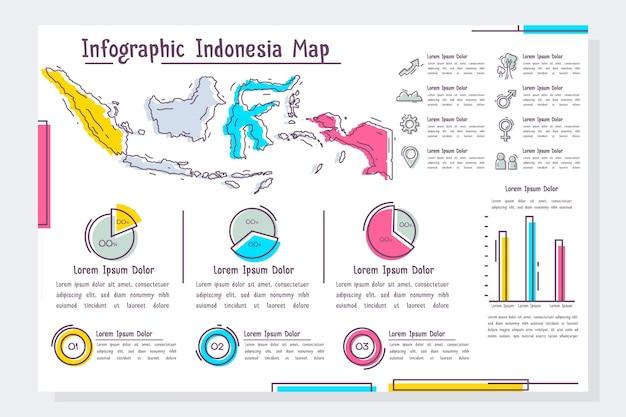 Plantilla de infografía de mapa de indonesia dibujado a mano