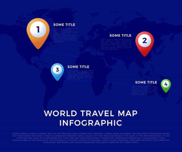 Plantilla de infografía de mapa mundial de viajes, iconos de colores como visualización de datos. plantilla de infografía del mapa mundial, iconos de colores como visualización de datos