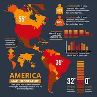 Plantilla de infografía de mapa plano de américa
