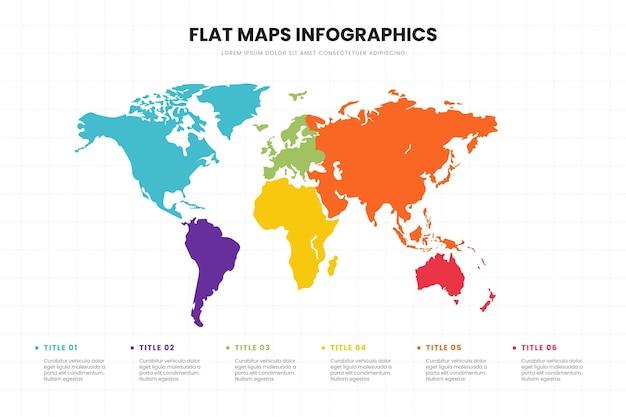 Plantilla de infografía de mapas de diseño plano