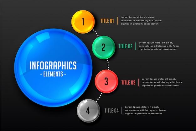 Plantilla de infografía de marketing con cuatro pasos.