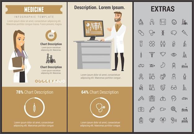 Plantilla de infografía medicina, elementos e iconos