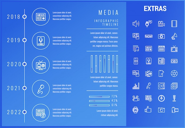 Plantilla de infografía de medios, elementos e iconos