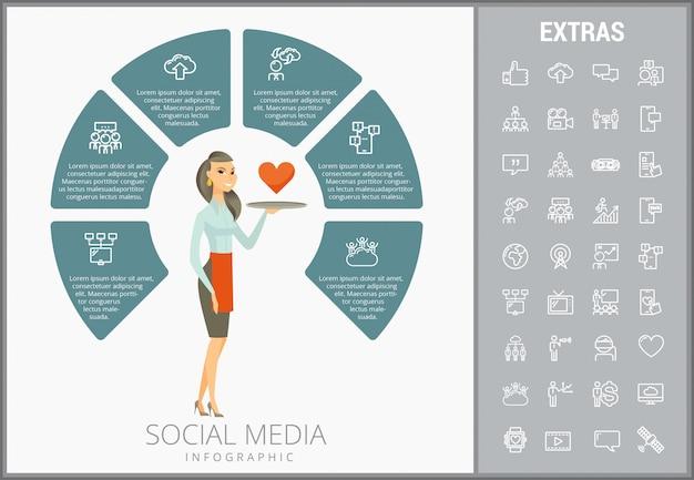 Plantilla de infografía de medios sociales, elementos, iconos