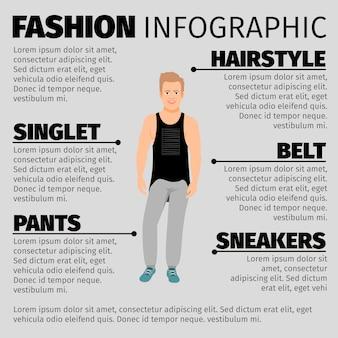 Plantilla de infografía de moda con chico fuerte