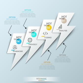 Plantilla de infografía moderna: 4 elementos superpuestos en forma de relámpagos conectados con cuadros de texto