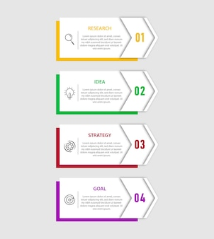 Plantilla de infografía moderna con 4 opciones, paso, diseño de plantilla de número