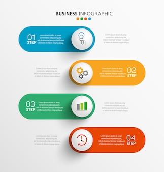 Plantilla de infografía moderna con 4 pasos para empresas