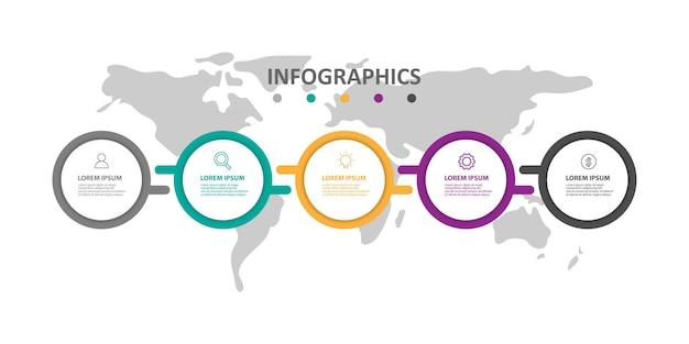 Plantilla de infografía moderna con 5 opciones o pasos.
