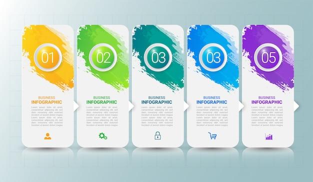 Plantilla de infografía moderna con cinco pasos