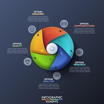 Plantilla de infografía moderna con círculo dividido