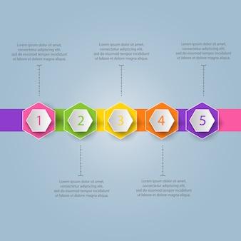 Plantilla de infografía moderna colorida con pasos