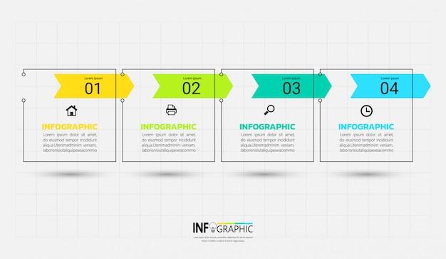 Plantilla de infografía moderna con concepto de contorno.