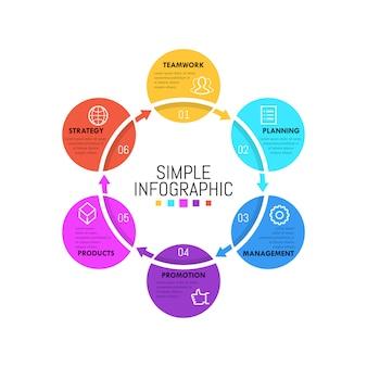 Plantilla de infografía moderna. diagrama circular simple con elementos redondos sucesivamente conectados.