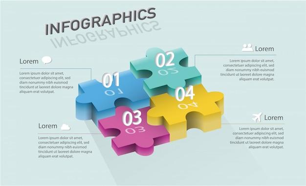 Plantilla de infografía moderna con forma de rompecabezas 3d para opciones o pasos para el diseño del flujo de trabajo, diagrama, opciones numéricas, opciones de aumento