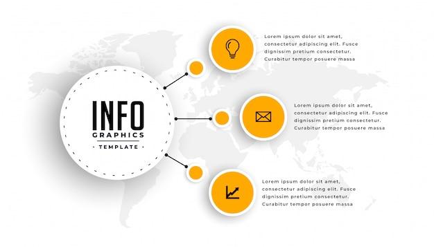 Plantilla de infografía moderna con tres pasos.