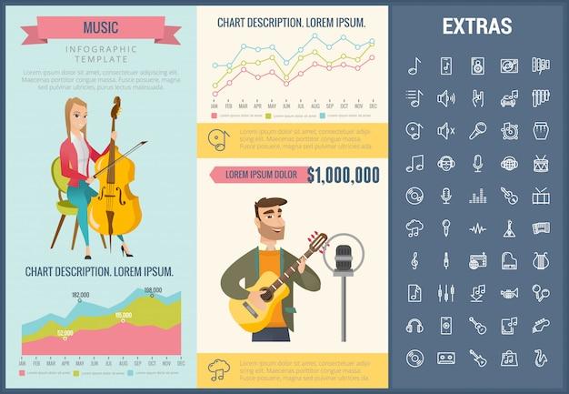 Plantilla de infografía de música, elementos e iconos