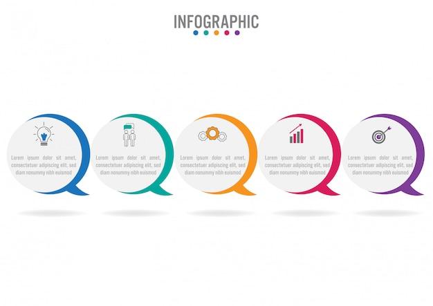 Plantilla de infografía de negocios con 5 opciones.