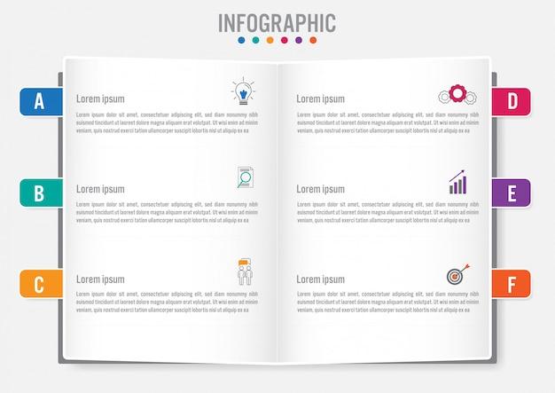 Plantilla de infografía de negocios con 6 opciones.