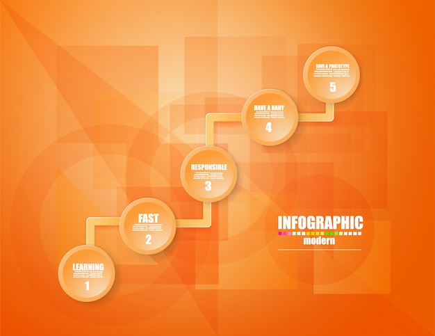 Plantilla de infografía de negocios el concepto de los pasos de escalera. aumentar.