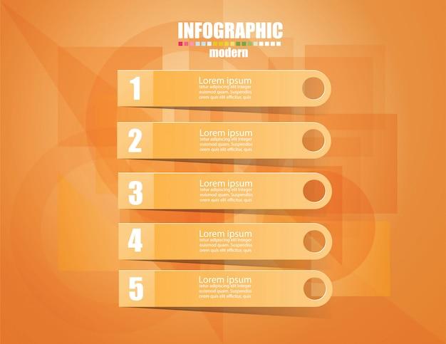 Plantilla de infografía de negocios el concepto de los pasos de escalera. pasa al color naranja.